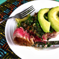 Tuna with avocado, ginger and lime